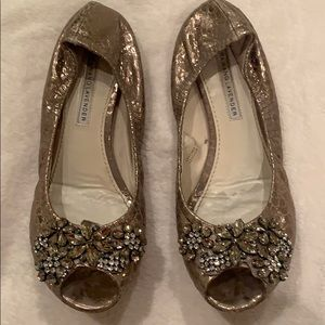 Vera Wang Lavender opened toe flats with crystals